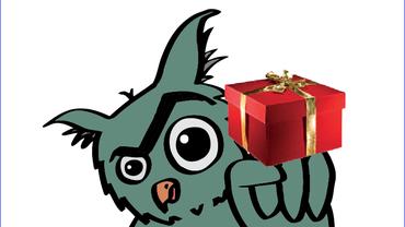 Eule mit Geschenk